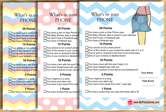 whats in your phone baby shower game