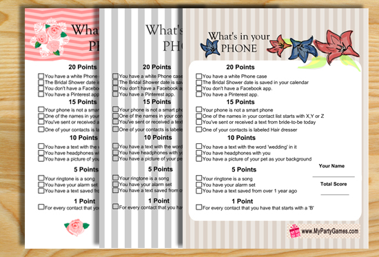 photo regarding Free Printable Bridal Shower Games What's in Your Purse referred to as Whats inside your Telephone Bridal Shower Sport