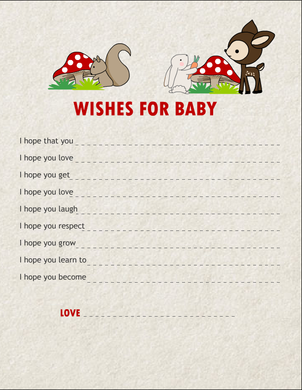 Free printable wishes for baby cards for Wishes for baby template printable