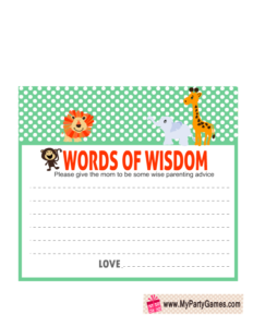 Words of Wisdom Cards Printable for Jungle Safari Baby Shower