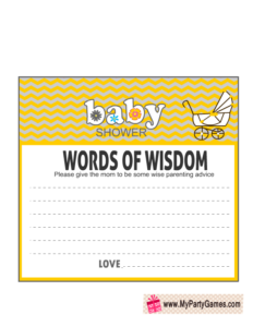 Free Printable Words of Wisdom Card in Yellow Color
