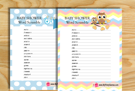 13 Free Printable Baby Shower Word Scramble Game Puzzles