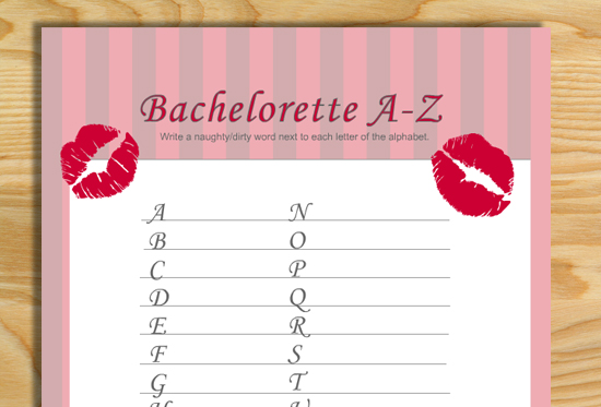 photograph regarding Printable Bachelorette Games named Cost-free Printable Naughty Alphabet Recreation for Bachelorette Occasion