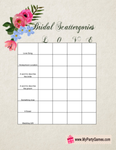Scattergories Game for Bridal Shower
