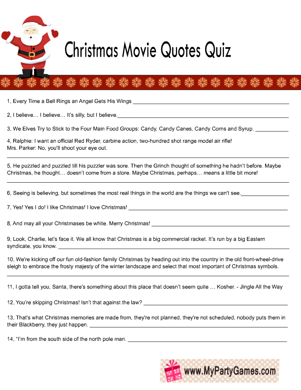 photo about Food Trivia Questions and Answers Printable known as Cost-free Printable Xmas Online video Estimates Quiz