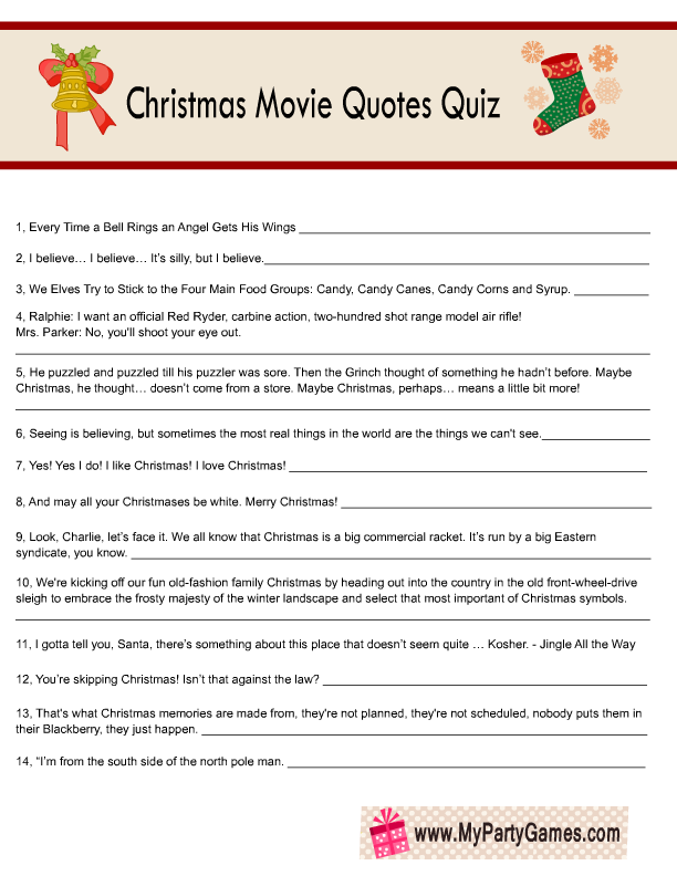 image relating to Printable Christmas Movie Trivia Questions and Answers identify Cost-free Printable Xmas Video clip Estimates Quiz