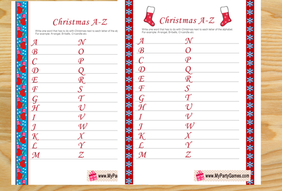 Everything Christmas A-Z, Free Printable Christmas Game