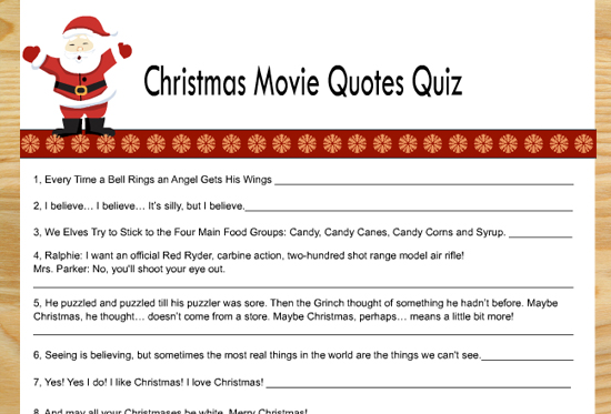 Free Printable Christmas Movie Quotes Quiz