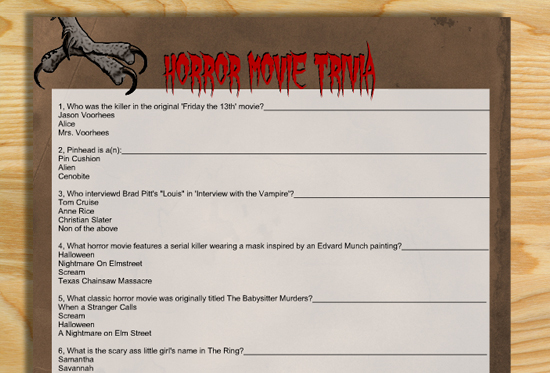 Free Printable Horror Movie Trivia Quiz