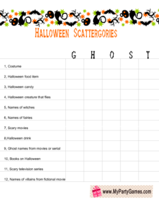 free printable halloween scattergories worksheet using the word Ghost
