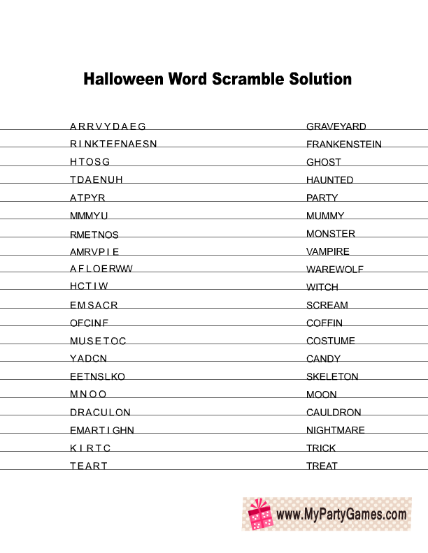 Word Scramble Using These Letters