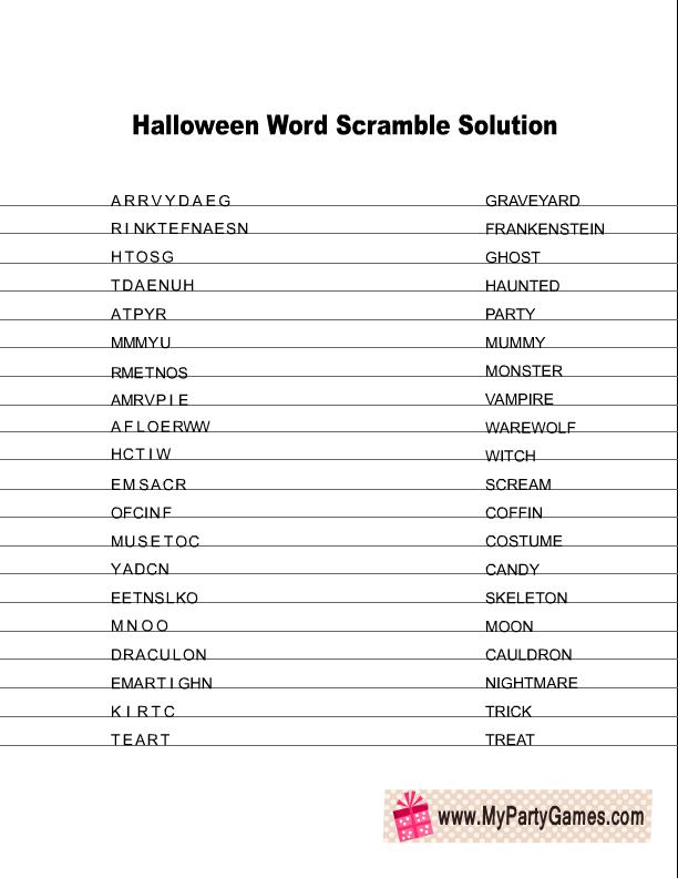 Free Printable Halloween Word Scramble Game
