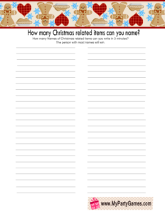 How many Christmas related Items can you Name? Game Printable