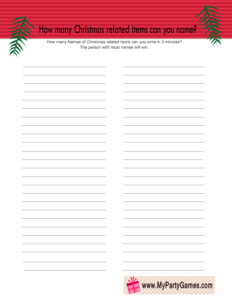 Free Printable How many Christmas related Items can you Name? Game