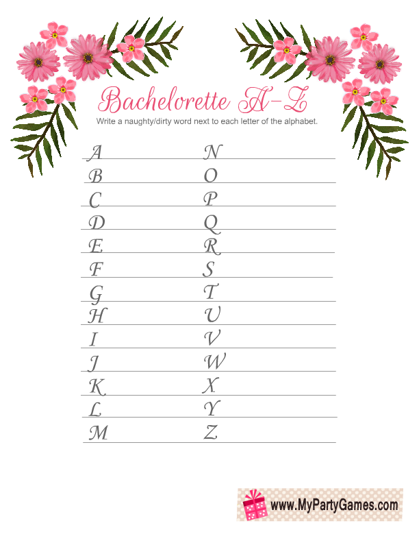 image regarding Printable Bachelorette Party Games identified as No cost Printable Naughty Alphabet Recreation for Bachelorette Bash