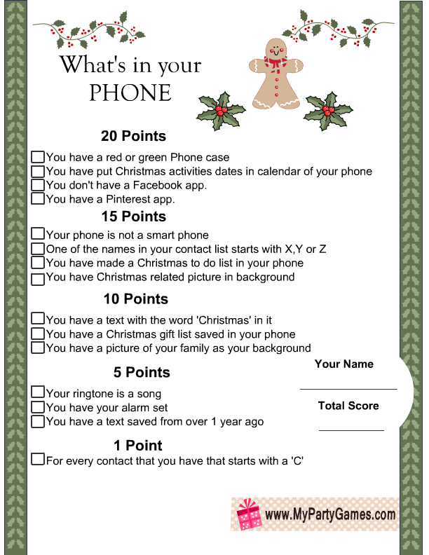 photo regarding What's in Your Cell Phone Game Free Printable identify Whats within just on your own Cellular phone-Totally free Printable Xmas Activity