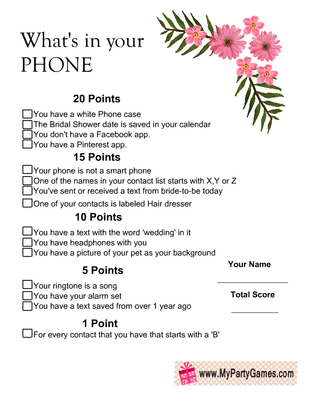 floral whats in your phone game