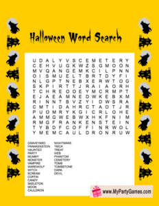 Free Printable Halloween Word Search Game in Yellow Color