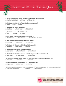 Free Printable Christmas Movie Trivia Quiz Worksheet 3
