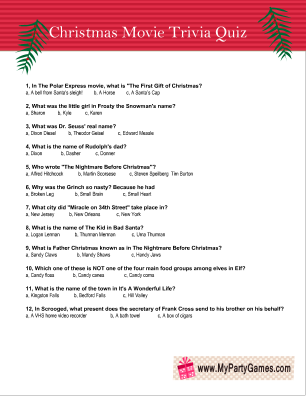 It's just a picture of Sizzling Christmas Movie Trivia Printable