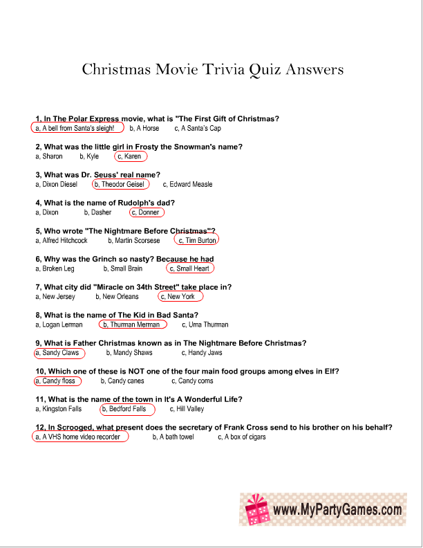 picture about Printable Trivia Questions and Answers named Totally free Printable Xmas Video clip Trivia Quiz