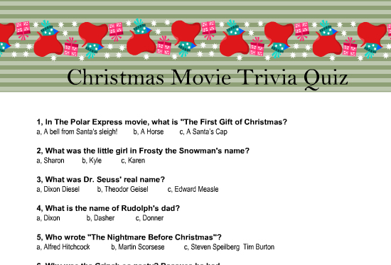 graphic about Christmas Trivia Game Printable called Free of charge Printable Xmas Video Trivia Quiz
