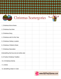 Free Printable Christmas Scattergories Categories List 2