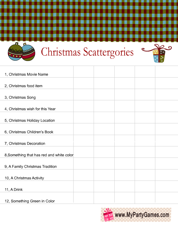 picture regarding Scattergories Lists 1 12 Printable named Free of charge Printable Scattergories motivated Xmas Recreation