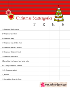 Scattergories inspired Christmas Game Worksheet using word Tree
