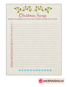 Cute Free Printable Christmas Songs Game Worksheet