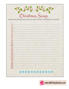 Cute Free Printable Christmas Songs Game Worksheet