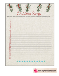 Free Printable Christmas Songs Game Worksheet