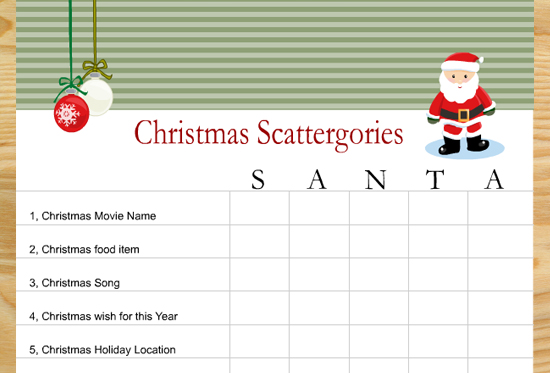 free printable scattergories inspired christmas game. Black Bedroom Furniture Sets. Home Design Ideas