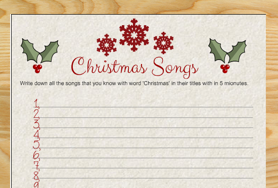 Free Printable Christmas Songs Game