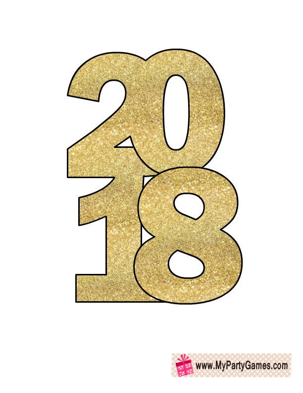 Free Printable New Year 2018 Photo Booth Props