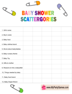 Free Printable Baby Shower Scattergories Game List in Rainbow Colors