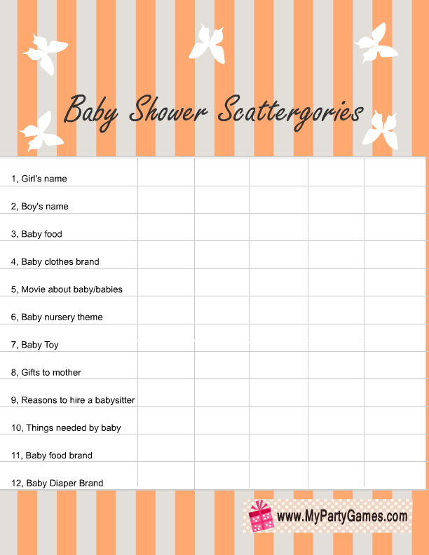 graphic regarding Printable Scattergories Lists identified as Absolutely free Printable Kid Shower Scattergories Recreation for Boy and