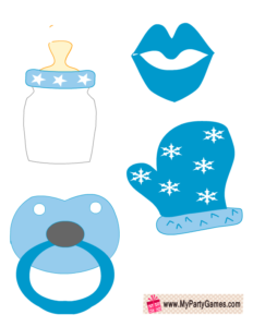 Baby Pacifier, Mitten, Lips and Milk Bottle Booth Props