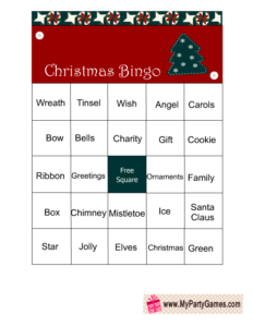 Free Printable Christmas Word Bingo Game Cards