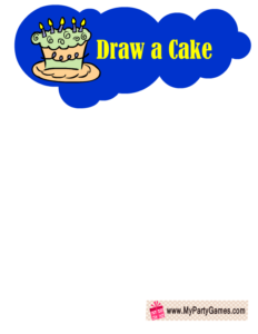 Free Printable Draw a Cake Birthday Party Game in Blue Color