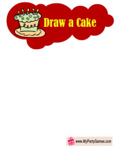 Draw a Cake- Free Printable Birthday Party Game in Red Color