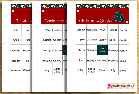 Free Printable Christmas Word Bingo Game