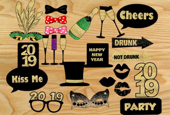 Free Printable New Year 2019 Photo Booth Props