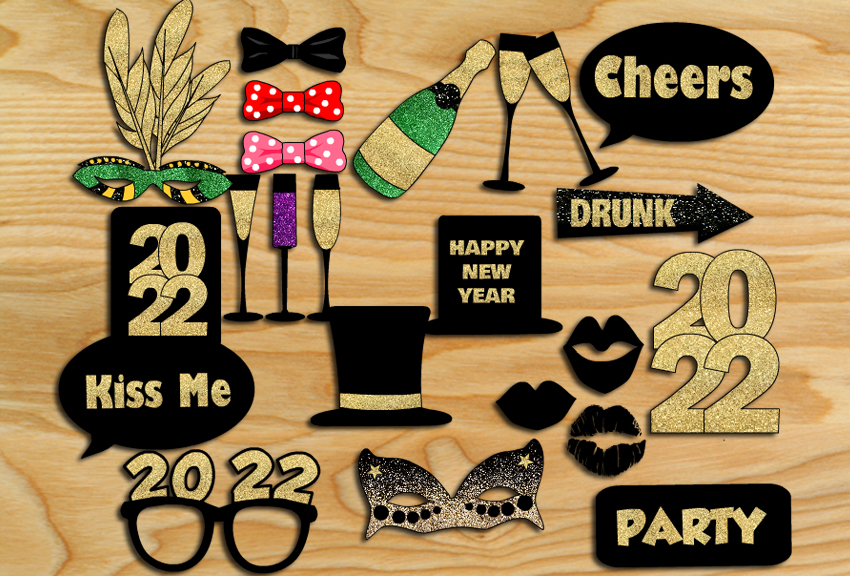 Free Printable New Year 2022 Photo Booth Props