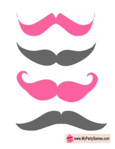 Pink and Grey Moustaches for Photo Booth