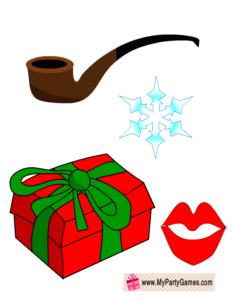 Free Printable Lips, Snow-Flake, Pipe and Christmas Gift Props