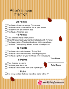 What's in your Phone game, Thanksgiving Version