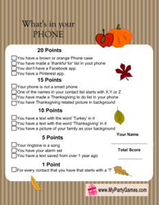 Free Printable What's in your Phone Thanksgiving Game