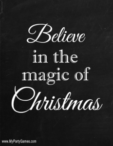 Believe in the Magic of Christmas Chalk board style