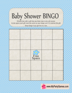 Baby Shower Gift Bingo Game in Blue Color